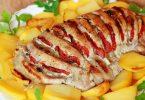 Фаршированная свиная шейка, запеченная в духовке с овощами, грибами