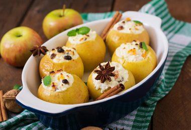 Печеные яблоки с творогом в духовке диетические