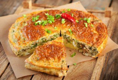 Пирог из рыбных консервов в духовке (заливной, на кефире)