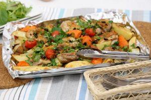 приготовить курицу гриль с овощами