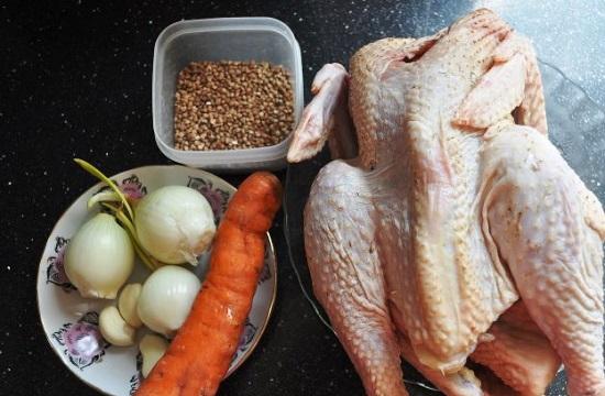 Рассыпчатая гречка с курицей в духовке в пакете