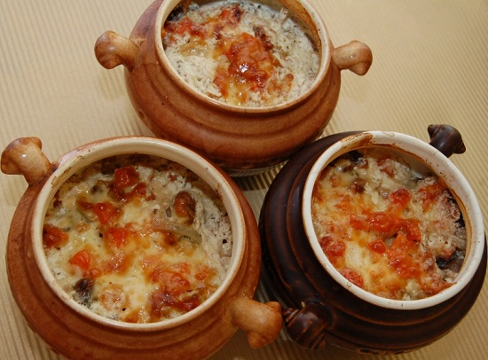сердечки с грибами в сливочном соусе
