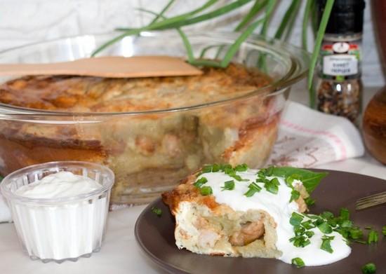 картофельную бабку с начинкой