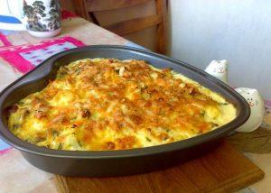 Омлет с тефтелями и картофелем
