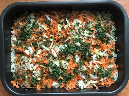 Баранина, запеченная с рисом