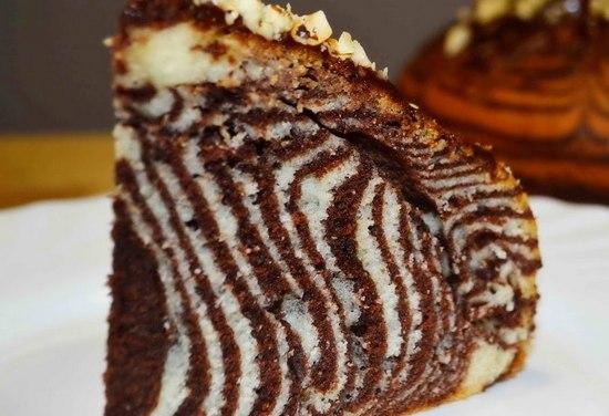 Пирог Зебра: рецепт в духовке на кефирном тесте