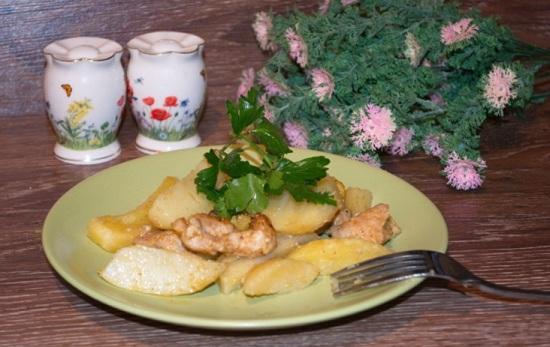 филе индюшки с картошкой
