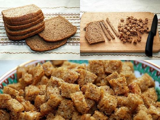 Нарежьте хлеб кусочками или полосками