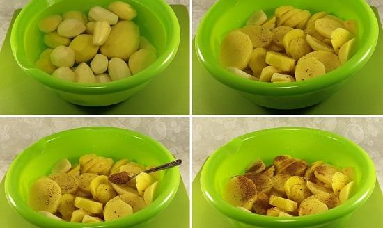 Картошку очистите