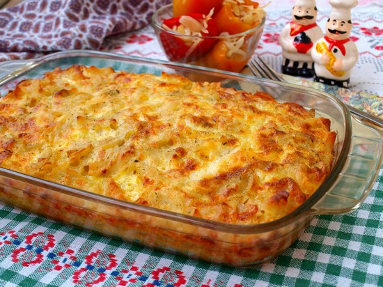 макароны с фаршем и сыром в духовке