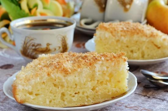 Кокосовый пирог на кефире в духовке: рецепт